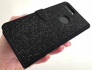 online store a5971 f1d14 Details about Black Made with Swarovski Crystal iPhone Galaxy Bling Gem  Card Wallet Case Cover
