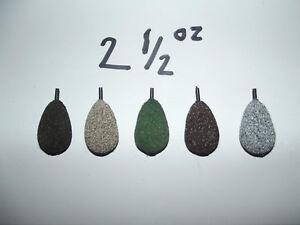 5 x 2 oz carp fishing flat pear lead weights
