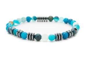 Blue-Agate-6mm-Natural-Beaded-Bracelet-Chakra-Healing-Men-Women-DT399