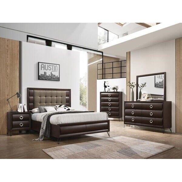Contemporary Style Twin Size 4pcs Set Gray Finish Solid Wood