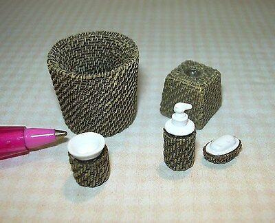 "Miniature Resin Brown ""Wicker"" 5-Piece Set Bath Accessories DOLLHOUSE 1/12"