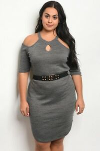 Details about Women\'s Plus Size Charcoal Ribbed Cold Shoulder Belted Dress  2X NEW