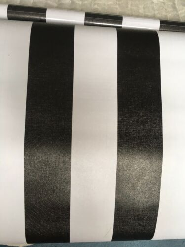 3m X 45cm Black And White Striped Sticky Back Vinyl