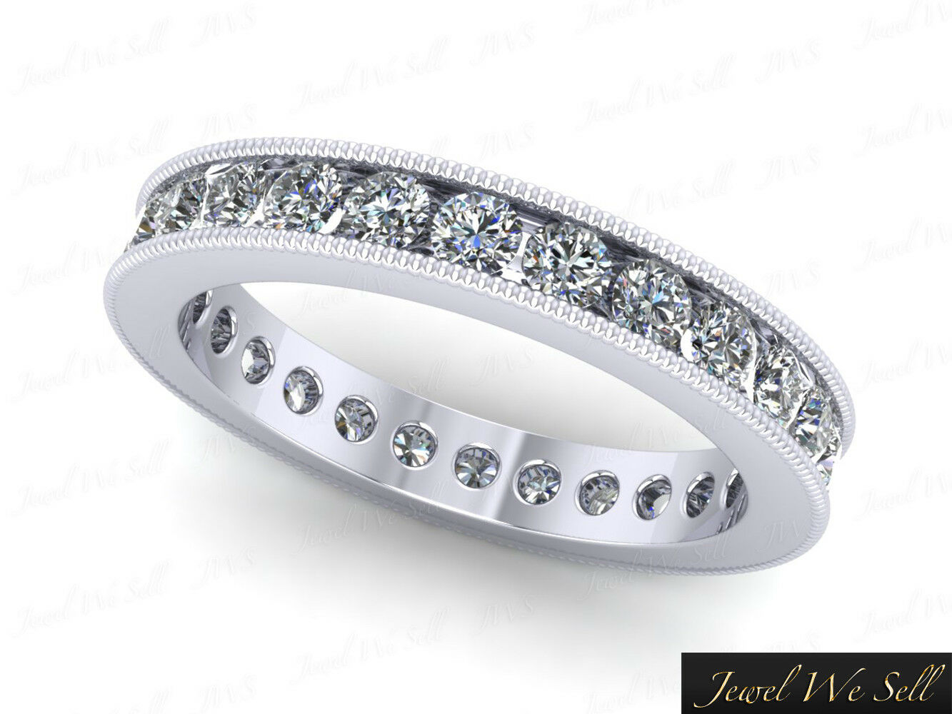1.15Ct Round Diamond Channel Set Milgrain Eternity Ring 10karat White gold GH I1