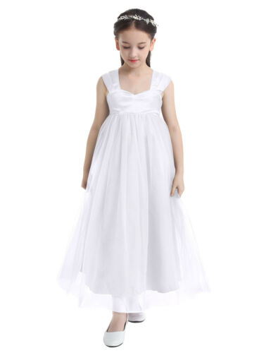 US Flower Girl Dress Princess Wedding Bridesmaid Chiffon Gown Floor Length Dress