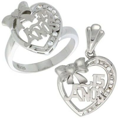 "Triple Hearts Ring /& Charm Pendant Set 925 Sterling Silver /""15 Anos/"" Butterfly"