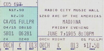 Madonna 1985 The Virgin Tour Radio City Music Hall Concert Nyc Ticket Stub Nmt Ebay