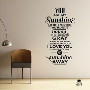 Delicieux Image Is Loading You Are My Sunshine Wall Decal Quote Vinyl