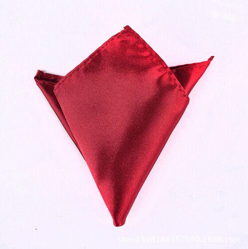 Mens Satin Solid Plain Color Handkerchief Hanky Pocket Square Wedding