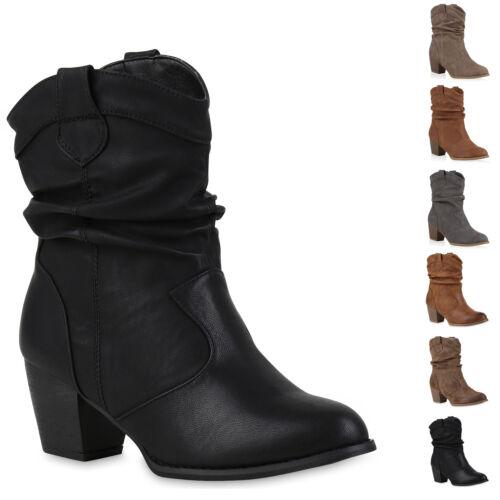892843 Cowboy Boots Damen Holzoptikabsatz Western Stiefeletten New Look