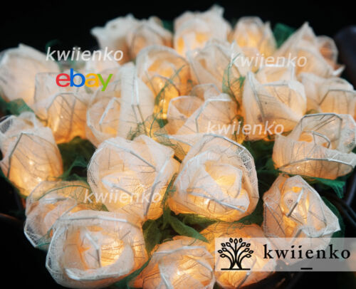 35 White Rose Flower Fairy String Lights Wedding Party Patio Floral Decor 3.5m