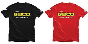 100% TEAM GEICO HONDA MENS TEE T SHIRT RED BLACK MOTOCROSS MX TOP CHEAP NEW BMX