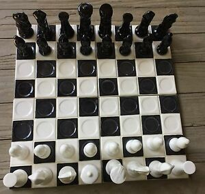 1960's ceramic chess set Black & white with 4 piece ceramic game board