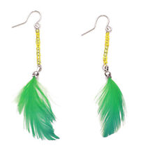 Ladies Stunning Tribal Inspired Green Feather Rustic Theme Earrings (Zx59)