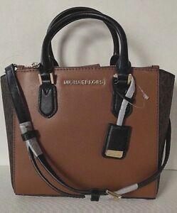 5debcdcbb692 New Michael Kors Carolyn Small Tote handbag PVC with leather Brown ...