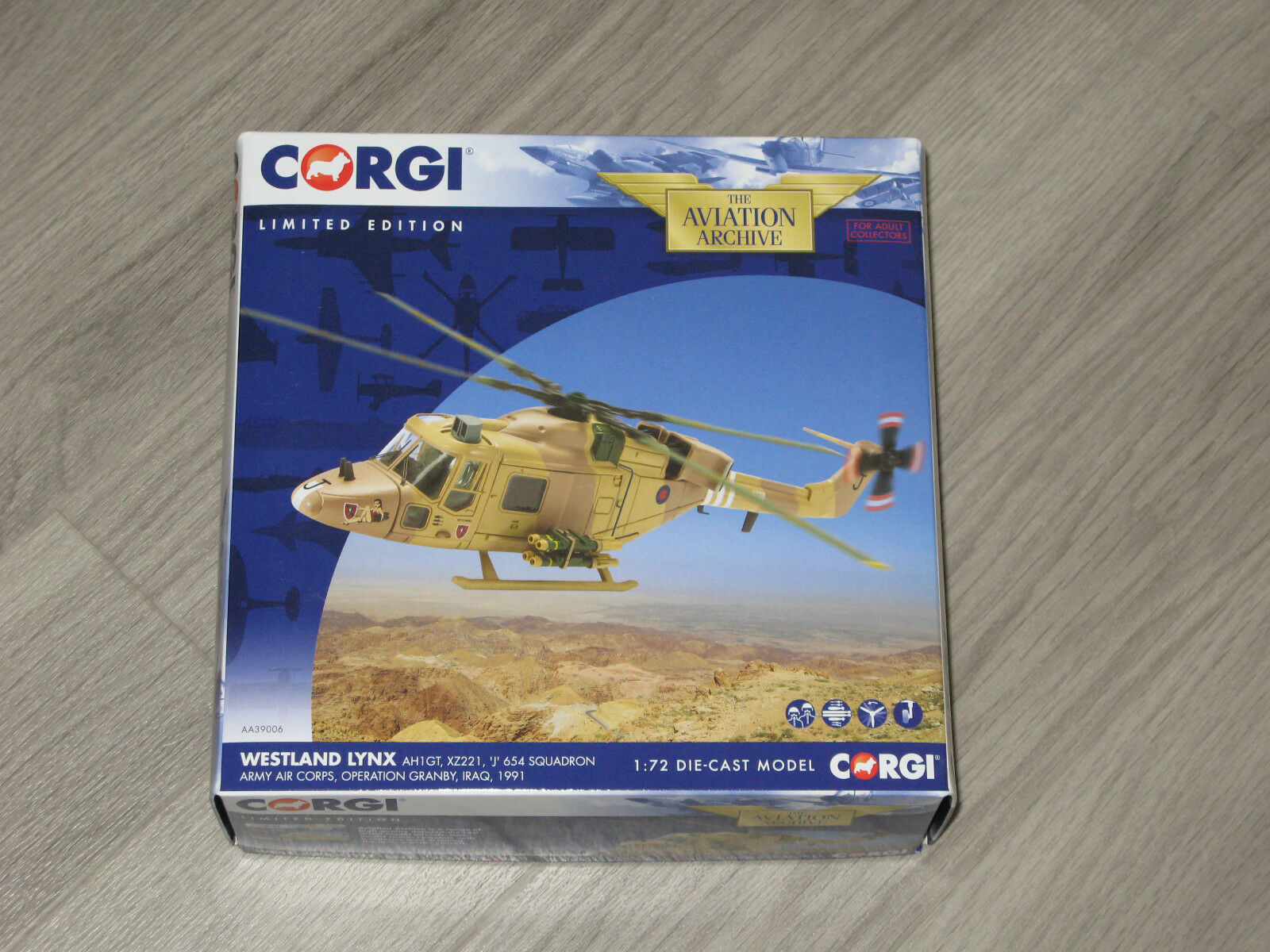 Corgi Aviation 1 72 Westland Lynx AH1GT XZ221 654 Sqn Army Air Corps AA39006