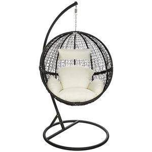 h ngesessel mit gestell h ngekorb polyrattan h ngestuhl h ngeschaukel b ware ebay. Black Bedroom Furniture Sets. Home Design Ideas