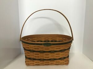 Longaberger Basket Traditions Collection Oval Handwoven Swing Handle Signed 1995