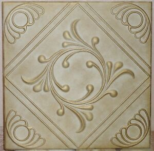 3D DECORATION Glue Up Ceiling Tiles R111 SHELLS GOLD Colored-PRINT SALE AS IS!