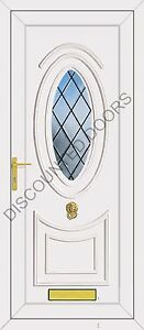 Jefferson One Diamond Coloured Bevel Glazed UPVC Front Door, Frame & Letterbox