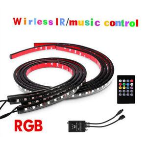 2-120cm-2-90cm-RGB-LED-Strips-Car-Underbody-Music-Control-Neon-Light-Kit-Remote