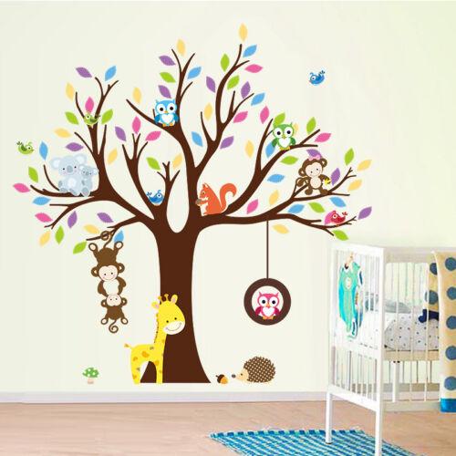 Jungle Animal Hibou Singe Arbre Wall stickers Nursery Decor pour enfants chambre de bébé
