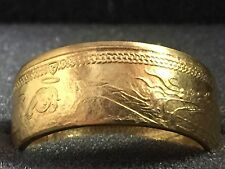 24k Solid Gold Coin Ring |  1oz 999 Gold | Isle Of Man Angel