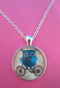 Owl-on-a-Bicycle-Silver-Plated-Pendant-Glass-Necklace-New-in-Gift-Bag-Christmas