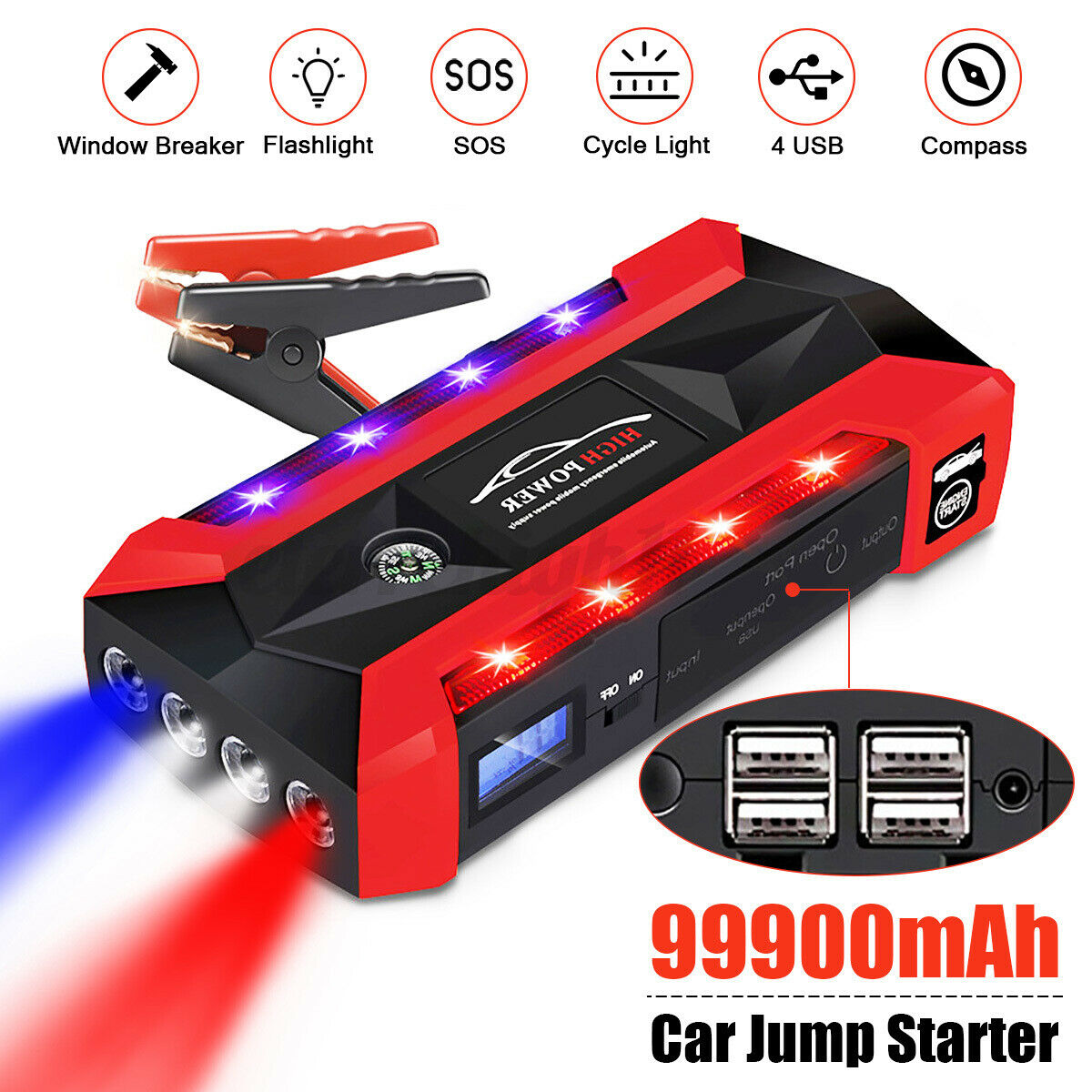 99900mAh 1000A Portable LED Car Jump Starter Booster Battery Charger Power