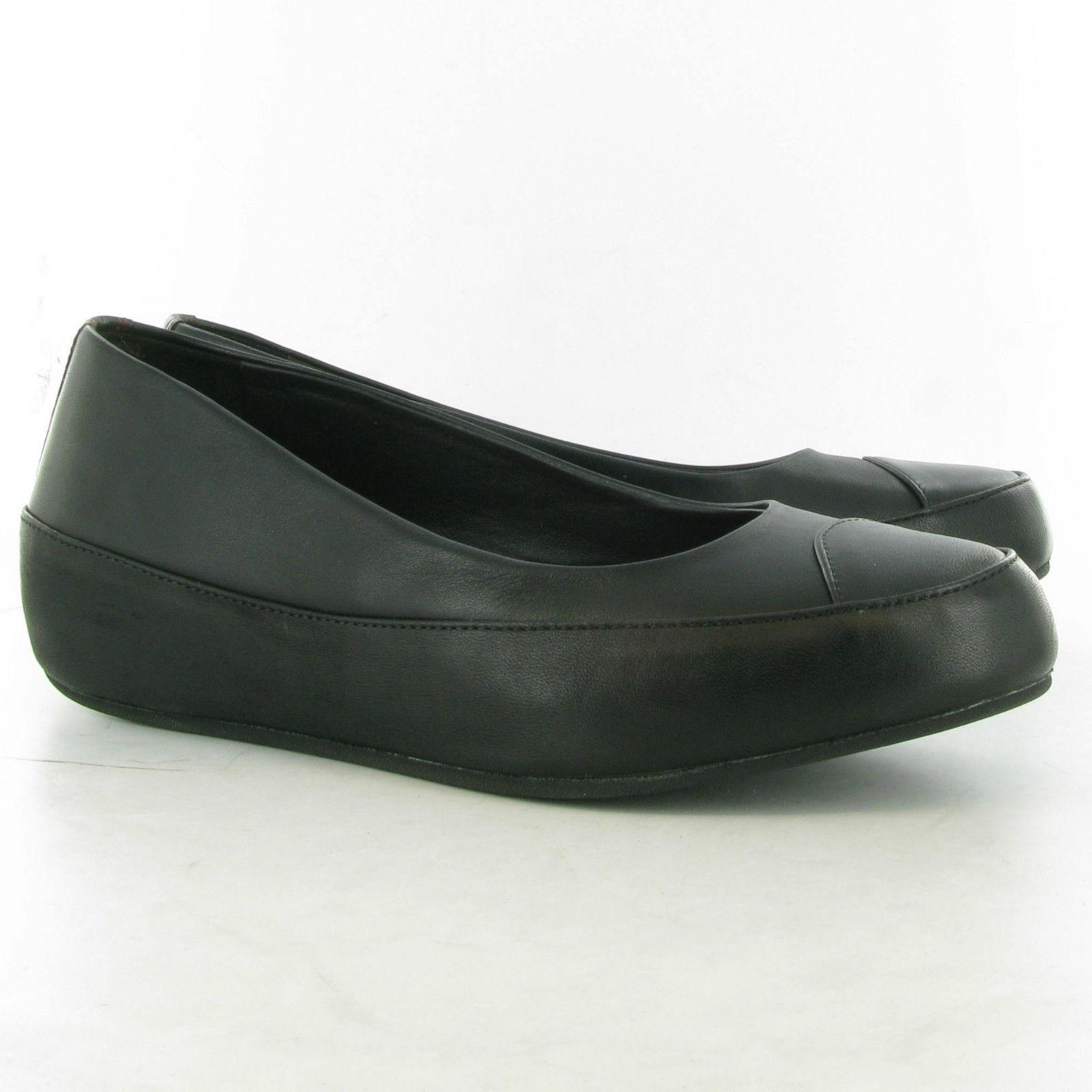 FITFLOP™ DUE BLACK LEATHER PLATFORM BALLERINA PUMPS Schuhe UK 5 EUR 38