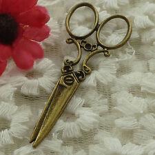free ship 22 pieces bronze plated scissors pendant 61x26mm #3178