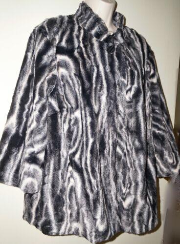 Langærmet Hvid Sort Dame Nwt Faux Animal 16w Jacket Fur Dunner Alfred wOE0qBW