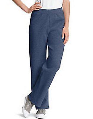Women's Hanes Live.Love.Color Tall Fleece Open Bottom Sweatpants Heathered Navy