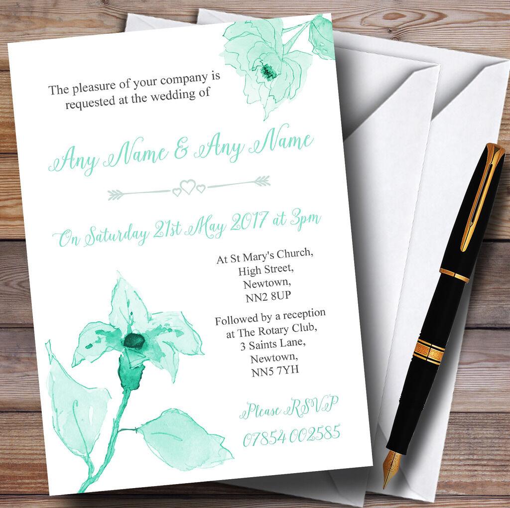 Beautiful Aqua Mint Grün Watercolour Flowers Personalised Wedding Invitations
