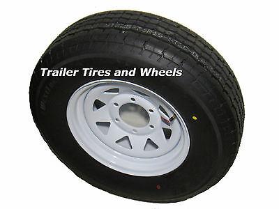 """225/75R15 LRD 8 PR WL Radial Trailer Tire on 15"""" 6 Lug White spk Trailer Wheel"""