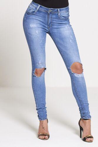 New Womens Ladies Stretch Faded  Slim Fit Skinny Denim Jeans Size UK 6 8 12 16