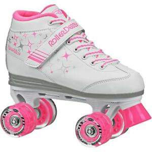 Roller-Derby-Girls-039-Sparkle-Quad-Light-up-Wheel-Roller-Skates-White-Pink-Size