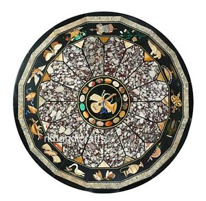 60 Inches Round Marble Conference Table Top Marquetry Art ...