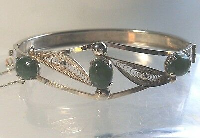 Vintage Sorrento Gold Clad Sterling Silver Green Spun Filigree Hinged Bracelet