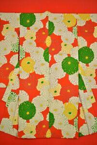 Vintage-Japanese-Silk-Antique-BORO-KIMONO-Kusakizome-Dyde-Textile-Kids-YC86-555