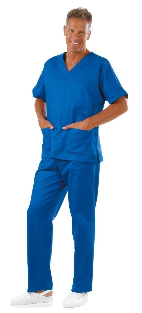 Completo Divisa bluTTE Casacca Camice Dentista + Pantalone Infermiere Dentista Camice Cotone 11332c