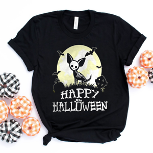 Chihuahua Dog Lover Skeleton Happy Halloween Gifts Women T Shirt Cotton Black