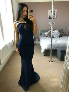 Quiz-Navy-Diamante-Detail-Dress-Ball-Gown-Long-Fishtail-Maxi-Evening-Prom-UK