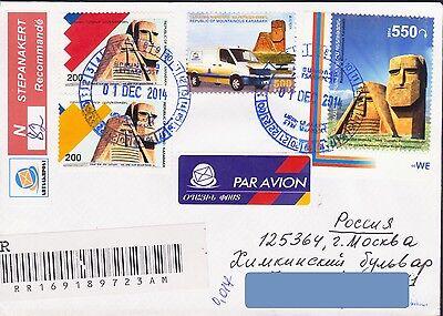 Stamps Nagorno Mountainous Karabakh Armenia Registered Cover To Russia Monument R16221 Great Varieties Armenia