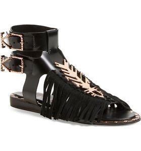 2109d6c76378bf Image is loading Ivy-Kirzhner-Black-Fringes-Sandals-Flat-Indochine-039-