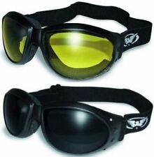 (2 GOGGLES) Motorcycle Riding SUPER DARK & Yellow Glasses Sunglasses Burning Man
