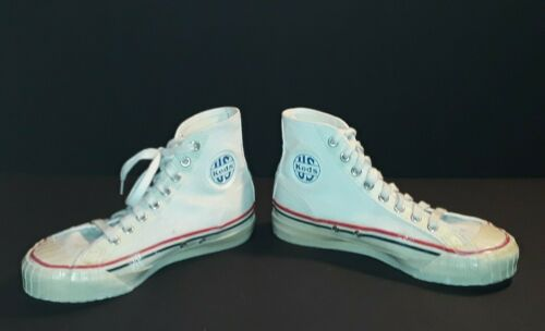 Vintage 1940s US Keds White Canvas Basketball High
