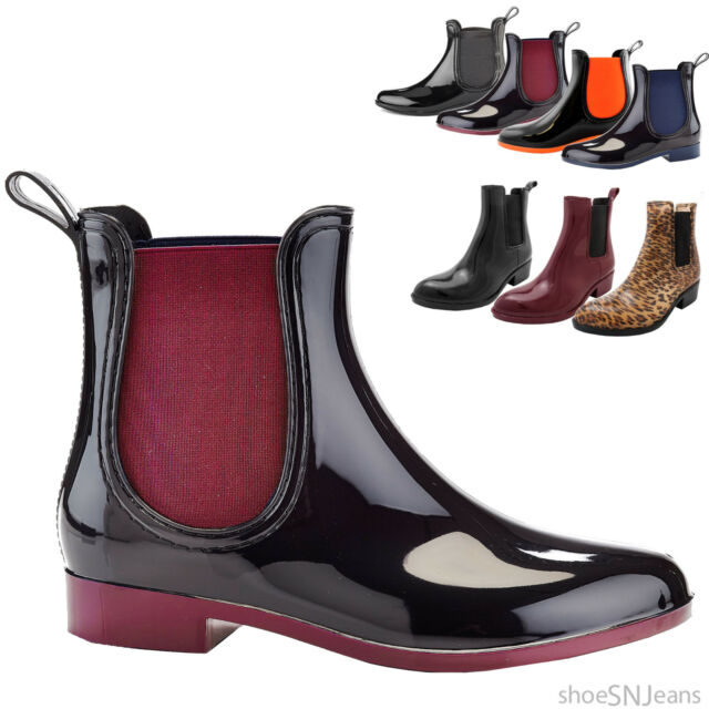 New Women Chelsea Almond Jelly Rubber Rain boots Side Panel Ankle Bootie Shoes