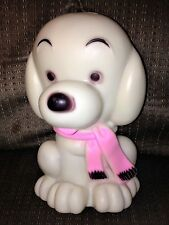 """Vintage 1970 Dreamland Creations Plastic 8"""" White Puppy w/ Pink Scarf Coin Bank"""