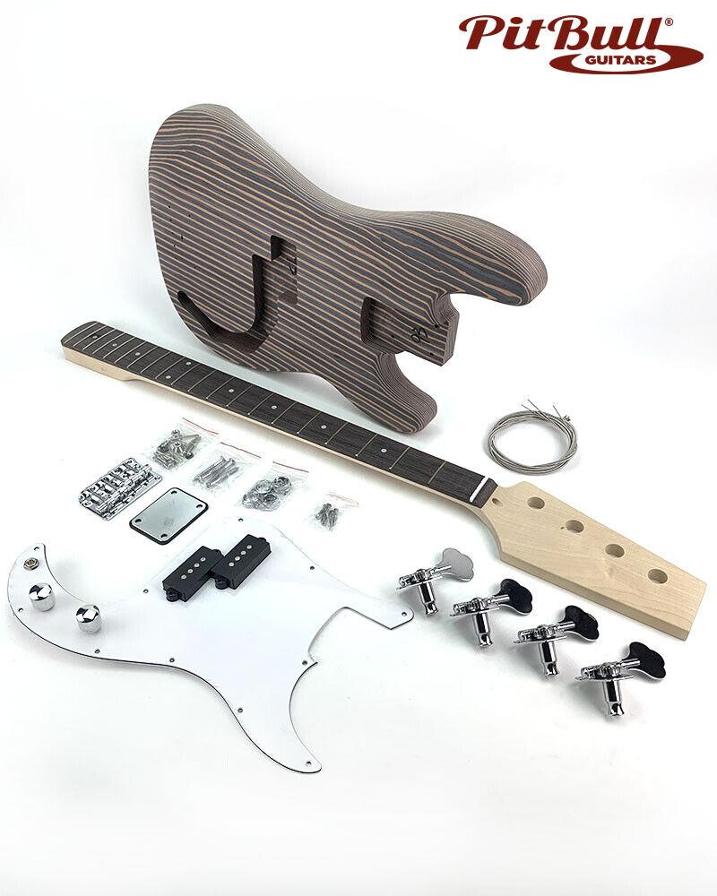 Pit Bull Guitars DPZ-4 Electric Bass Guitar Kit (Zebra wood)